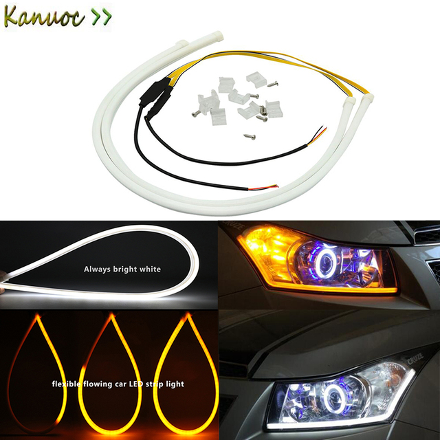 Car Led Strip White Drl And Yellow Flowing Daytime Running Light