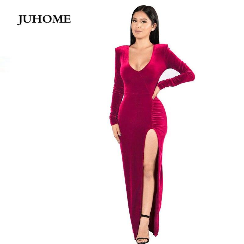 long sleeve split maxi dress 2018 autumn Floor Length gown winter gray  velvet fashion dresses evening party vestido de festa -in Dresses from  Women s ... 4060de28842c