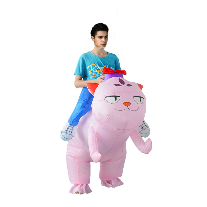 Adult Inflatable Cat Costume Ride on Cat Fan Operated Blow Up Suits Halloween Animal lovely Felinae Cosplay Costumes Fancy Dress