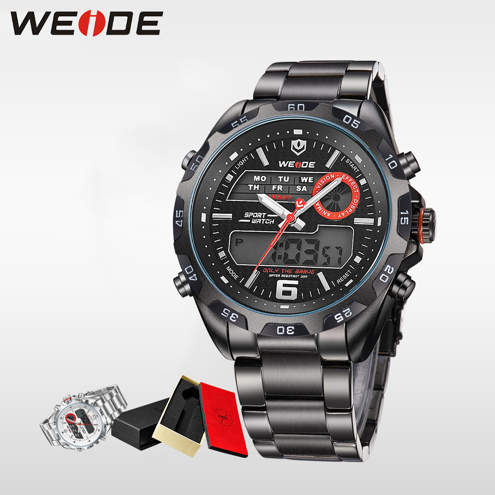 WEIDE luxury Top Brand Watch stainless steell Men Sports Multi-functional Analog Quartz Digital Alarm Clock For Man WH3403