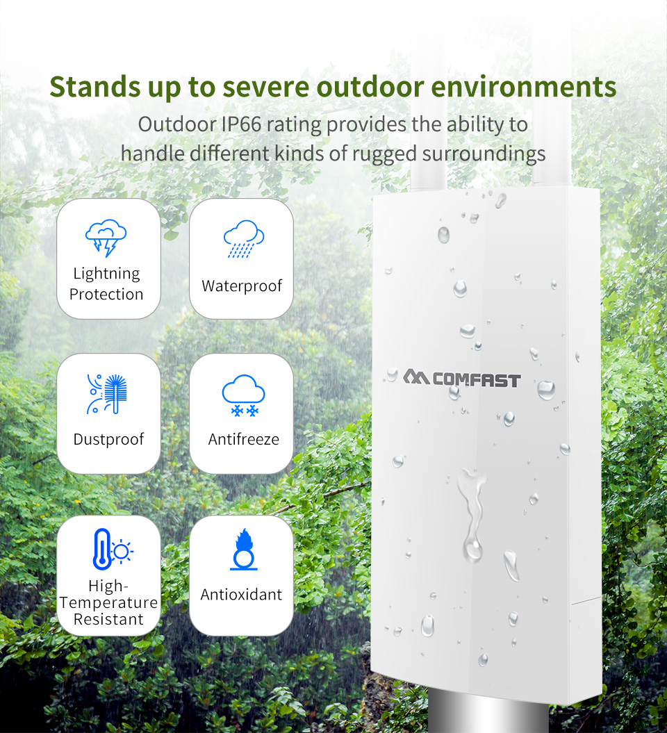 Image 2 - long Range Outdoor Wireless Router 300Mbps Wireless Wifi Repeater /AP/WIFI Router CPE 2.4G Dual External Antenna 48V POE adapter-in Modem-Router Combos from Computer & Office