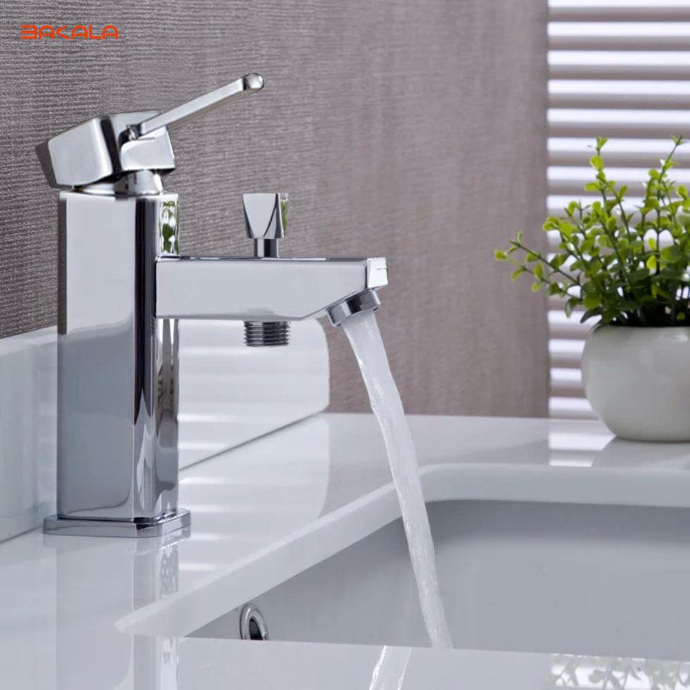 BAKALA Luxury Brass Washbasin Faucet, Hot & Cold Water Mixer, With Hand Shower and Hose, Free Shipping free shipping chrome brass hand shower set faucet wall mounted with brass holder and hot cold control shower valve is125