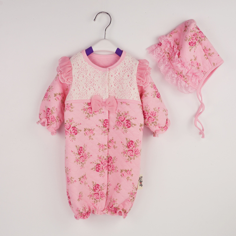 Autumn Winter Baby Girl Rompers Lace Floral Infant Jumpsuit Baby Girl Clothes Thicken Ropa Newborn Coveralls + Baby Hats baby rompers baby winter coveralls infant boy girl fleece romper ropa nena invierno knitted stripe jumpsuit bebe newborn outwear
