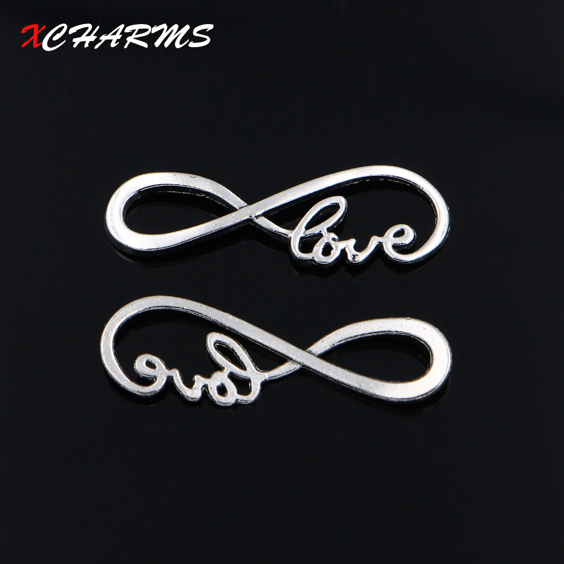 XCHARMS 10pcs/lot Jewelry Findings Silver Color Infinity Love Connector 38*12mm Antique Making fit DIY Bracelet NecklaceXCHARMS 10pcs/lot Jewelry Findings Silver Color Infinity Love Connector 38*12mm Antique Making fit DIY Bracelet Necklace