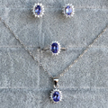 Qualidade superior de luxo conjuntos de jóias feitas por 925 Prata Esterlina Sólida e 100% conjuntos de jóias de casamento tanzanite natural Excelente