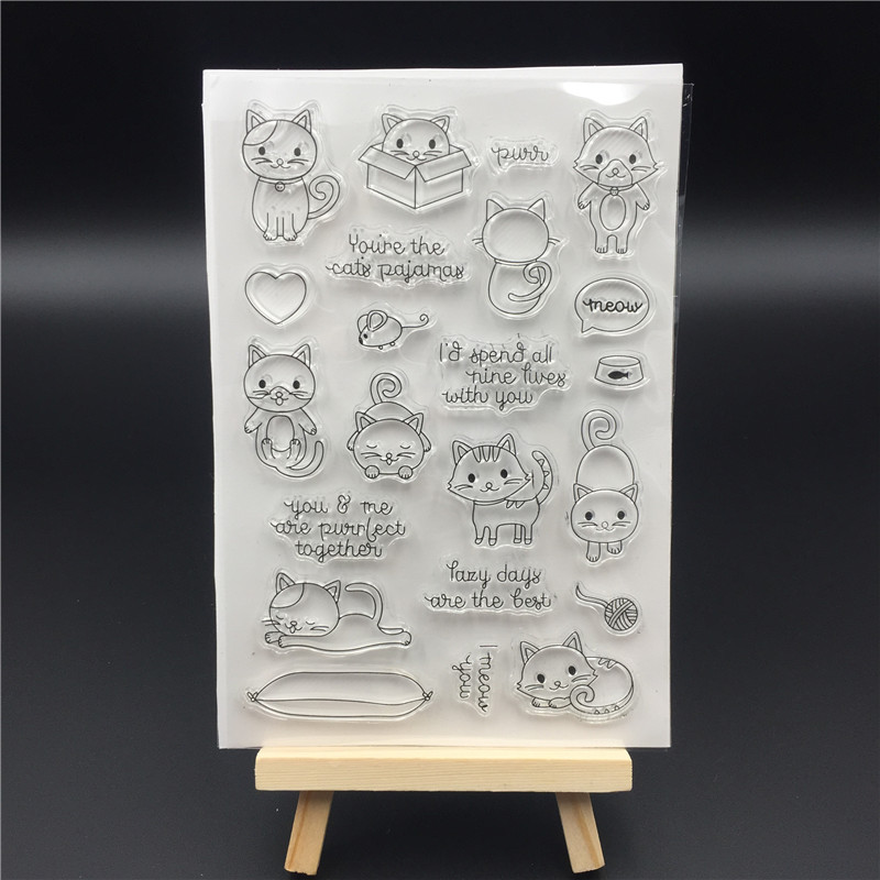 Cute little lazy cat Transparent Clear Silicone Stamp/Seal for DIY scrapbooking/photo album Decorative clear stamp sheets A329 lovely animals and ballon design transparent clear silicone stamp for diy scrapbooking photo album clear stamp cl 278