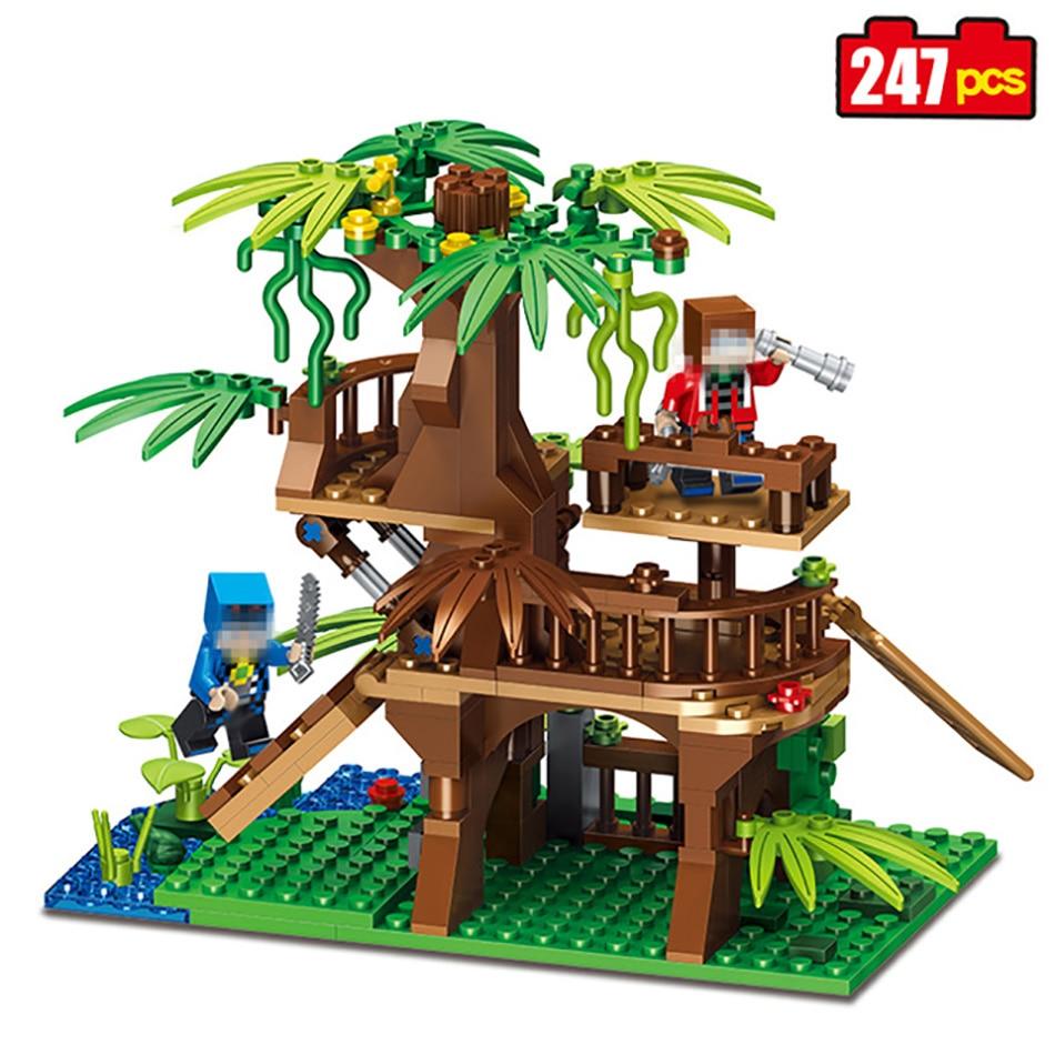 247pcs Minecrafted Village Watchtower Model Building Blocks Castle font b Toys b font Compatible Legos Minecraft