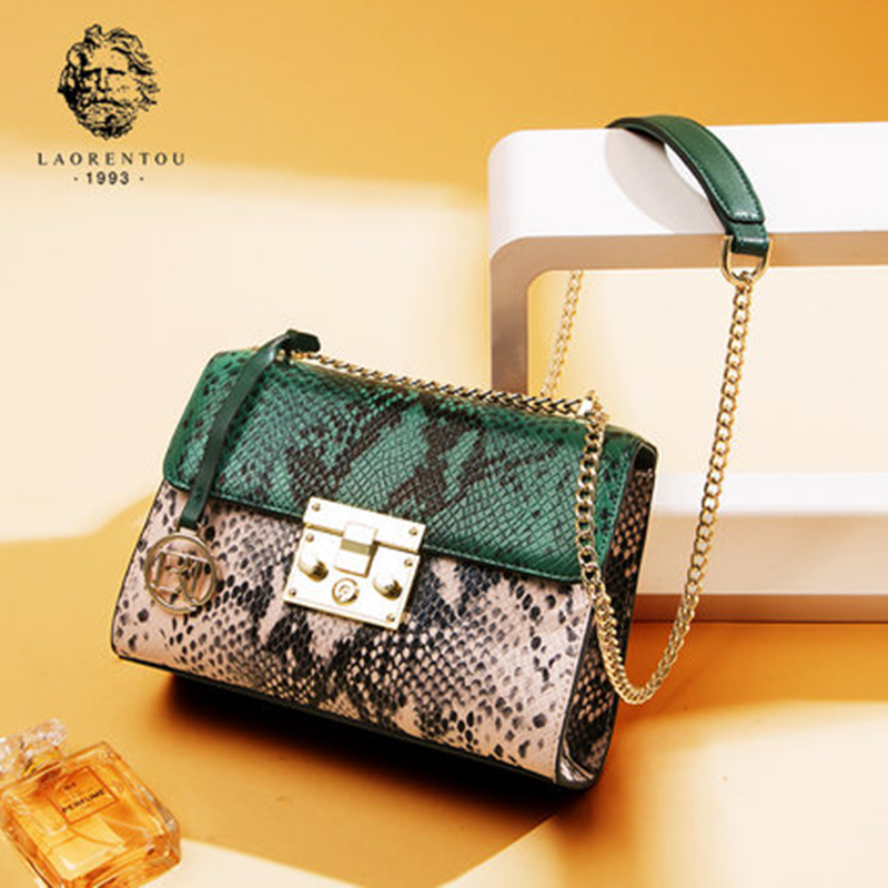 Laorentou Valentines Day gift Leather Bag Women Shoulder Bags Wild Snake Pattern Handbags Women Crossbody Bags