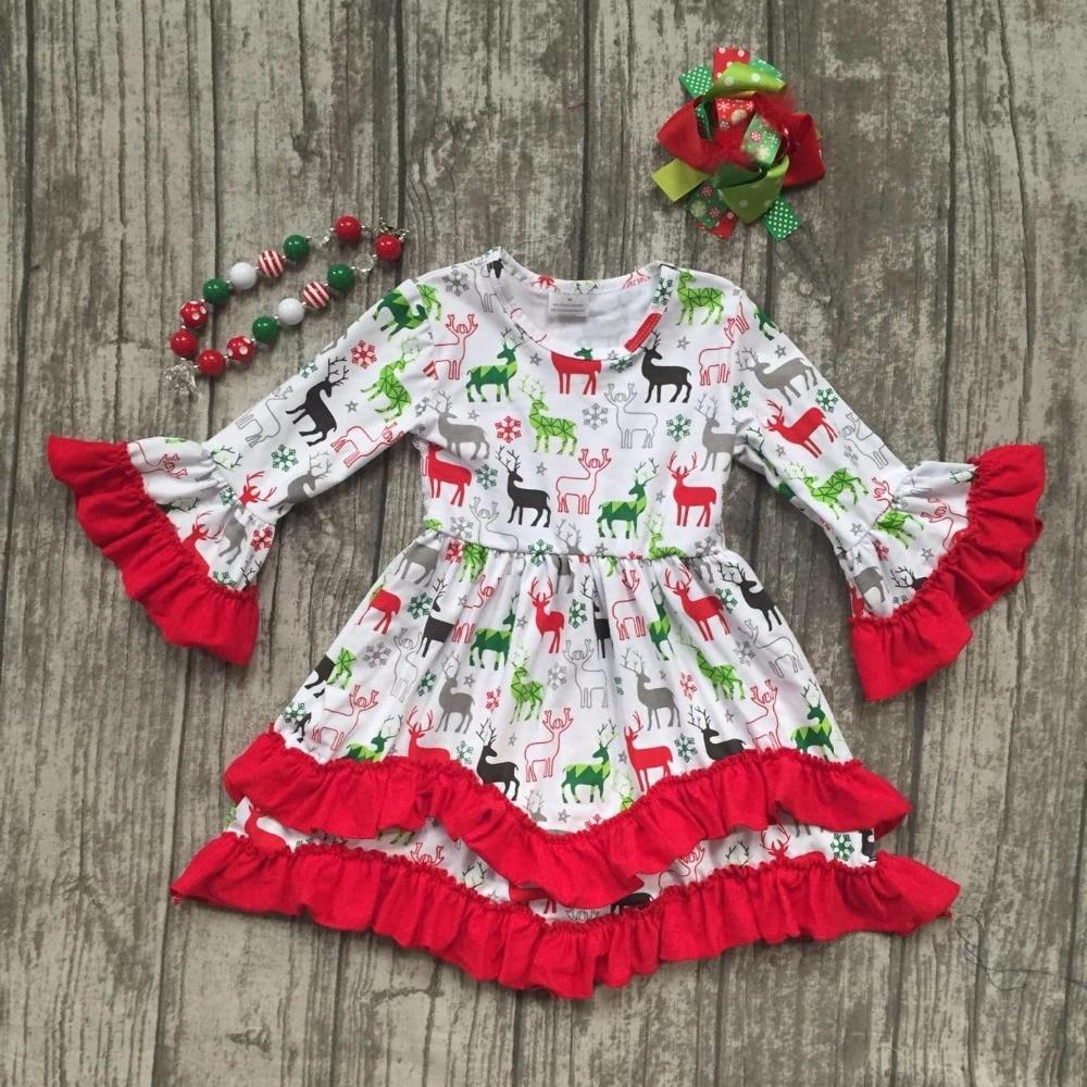 new Christmas girls children clothes baby reindeer print cotton Fall/Winter long sleeve ruffles dress boutique match accessories elikor эпсилон 50 медный антик золото