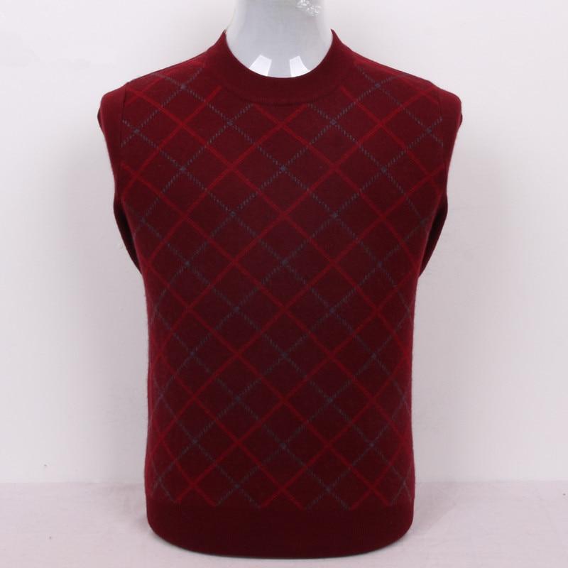 High Grade 100%goat Cashmere Men's Boutique Plaid Basics Pullover Sweater O-neck Claret 3color S/105-3XL/130