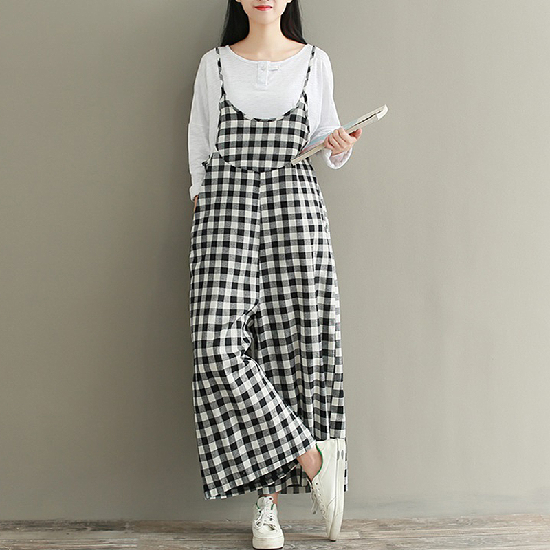 New Women Sleeveless Check Plaid Dungaree   Jumpsuits   Overalls Vintage Ladies Strappy Casual Loose Harem Pants Long Trousers