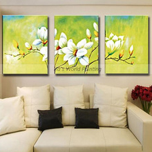 Top aritist 3 Panel high quality 100% Hand Painted flower Oil Paintings wall picture Wall Artwork For Living Room hotel decor цена
