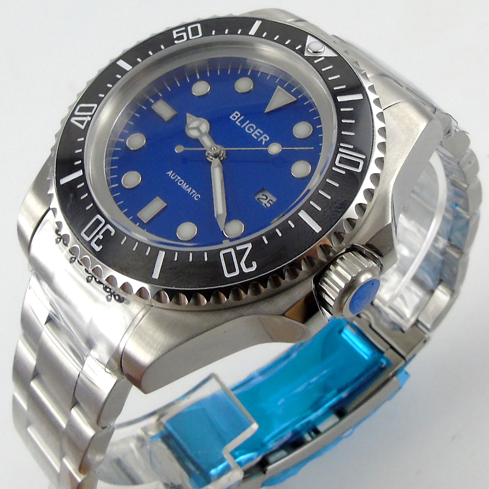 Bliger 44mm blue Sterile dial black Ceramic Bezel automatic mens watch