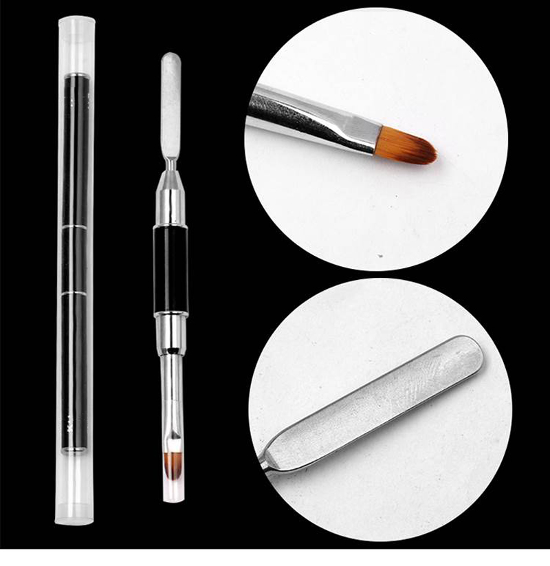 1Pc X Dual-ended UV Brush Nail Pen Poly Gel Nail Brush Double Double Head Stainless Steel Extension Pen Nail Brush Tool Polish