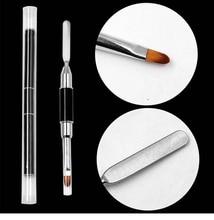 цены на 1Pc x Dual-ended UV Brush Nail Pen Poly Gel Nail Brush Double Double Head Stainless Steel Extension Pen Nail Brush Tool Polish  в интернет-магазинах