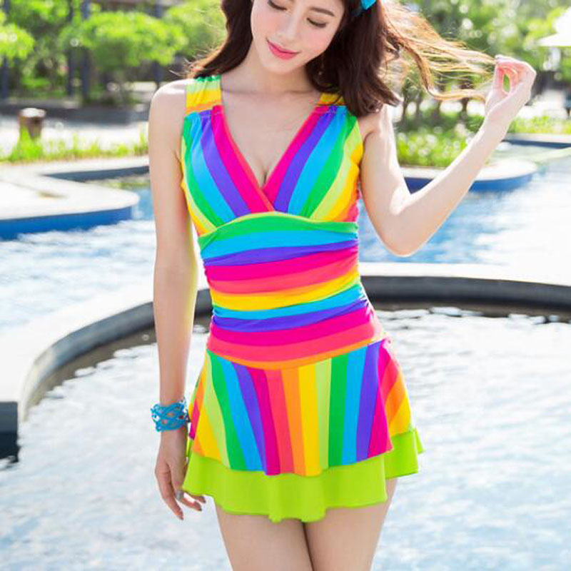 Beach Summer Rainbow Color Stripe Swimwear Women Skort Bottom One Piece Swimsuit Quick Dry V-Neck High Quality Sexy Bathing Suit one piece swimsuits trikinis high cut thong swimsuit sexy strappy monokini swim suits high quality denim women s sports swimwear