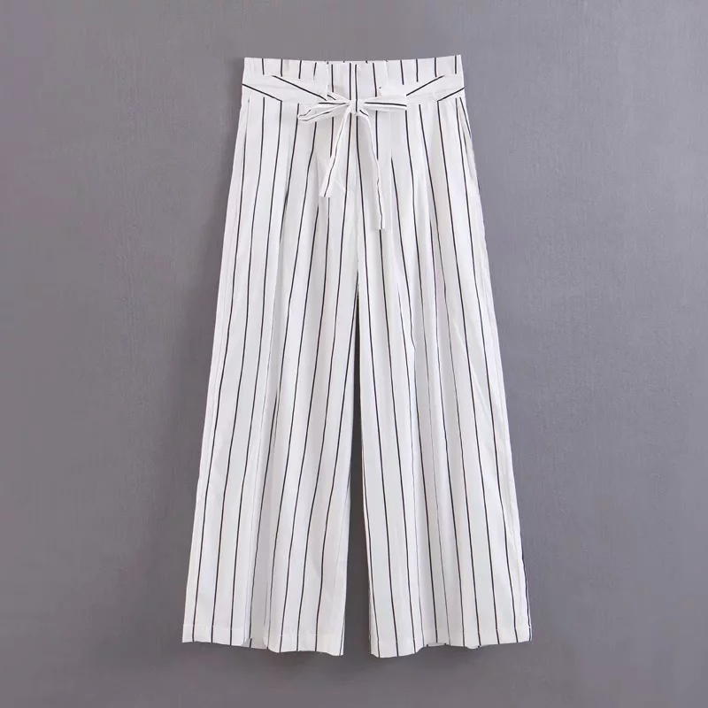 Klacwaya Summer Bohemian Style Striped   Wide     Leg     Pants   Bow Ties Decorate Ankle Length Trousers Women Loose Casual Female   Pants