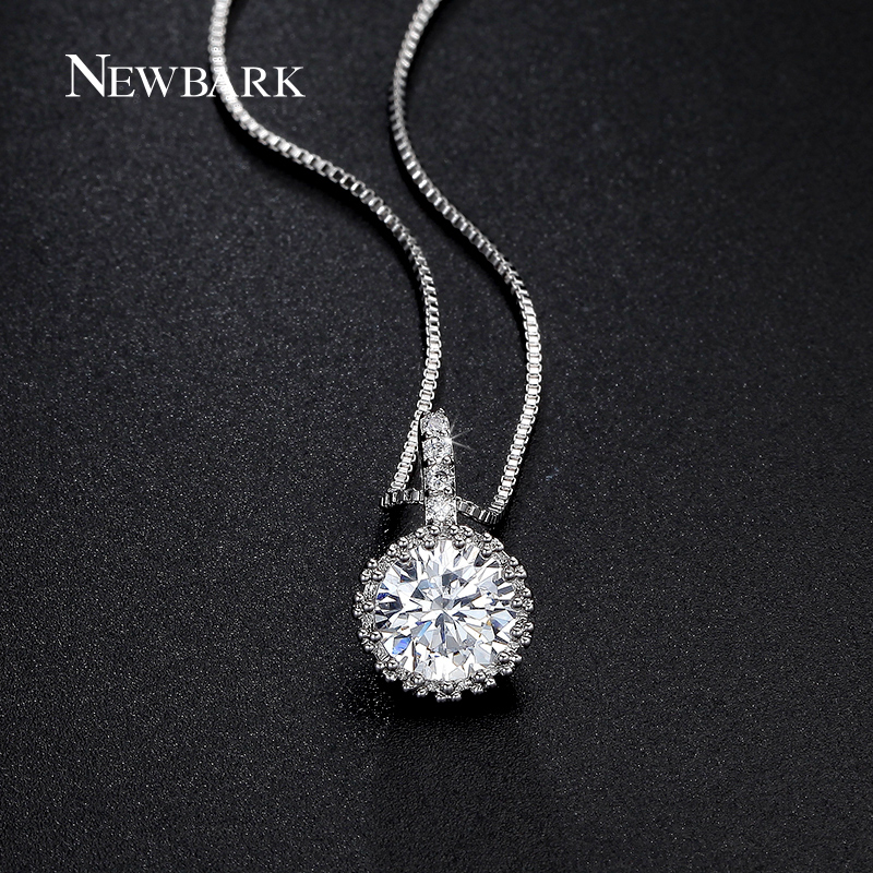 NEWBARK Silver Color Cubic Zirconia Necklaces OL Style Hearts CZ Pendant Chain Necklaces & Pendants Fashion Jewelry for Women