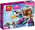 180 pcs Princesa Anna e o Trenó do Edifício Kit Aventura Snow Queen Elsa Kristoff Building Blocks Amigos Presentes Brinquedos Compatível