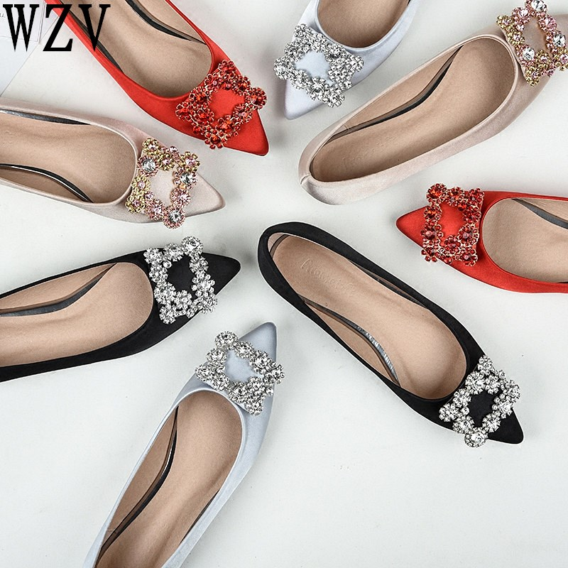 Plus Size43 Genuine Leather Women Flat Ballet Shoes Bling Crystal Pointed Toe Flats Shoes Elegant Lady Shoes Wedding Shoes