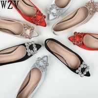 Plus size43 En Cuir Véritable Femmes Chaussures de Ballet Plat Bling Cristal Bout Pointu chaussures plates Dame Élégante chaussures chaussures de mariage
