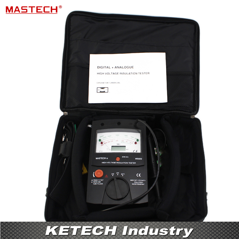2500V Digital/Analogue Megger Pointer Insulation Resistance Tester Max to 100000Mohm MASTECH MS5202 mastech ms5215 high voltage digital insulation resistance tester megometro megger 5000v 3ma temp 10 70c
