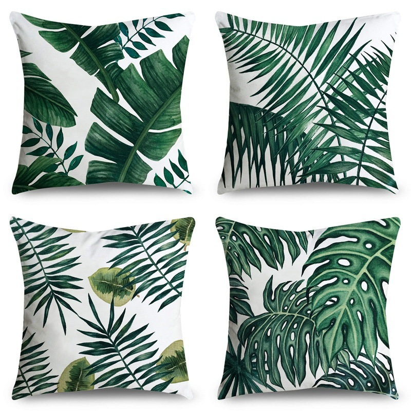 Tropical Leaves Cushion Cover Polyester Plants Green Pillow Cases Decorative For Sofa Car Seat Fresh Home Decor Covers 45x45cm