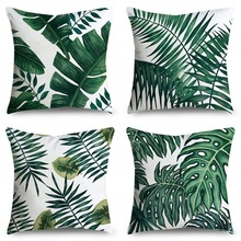 Tropical Leaves Cushion Cover Polyester Plants Green Pillow Cases Decorative for Sofa Car Seat Fresh Home Decor Covers 45x45cm цены