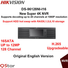 Hikvision Original English New Super 4K NVR DS-96128NI-I16 128ch 16 SATA 12MP Support decoding up to 20 channels at 1080P RAID