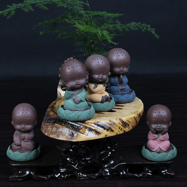 Dropship Chinese Ceramic Buddha Statue Painted Pottery Tea Pet Home Decor  Decoration Wholesale Small Monk Furnishing