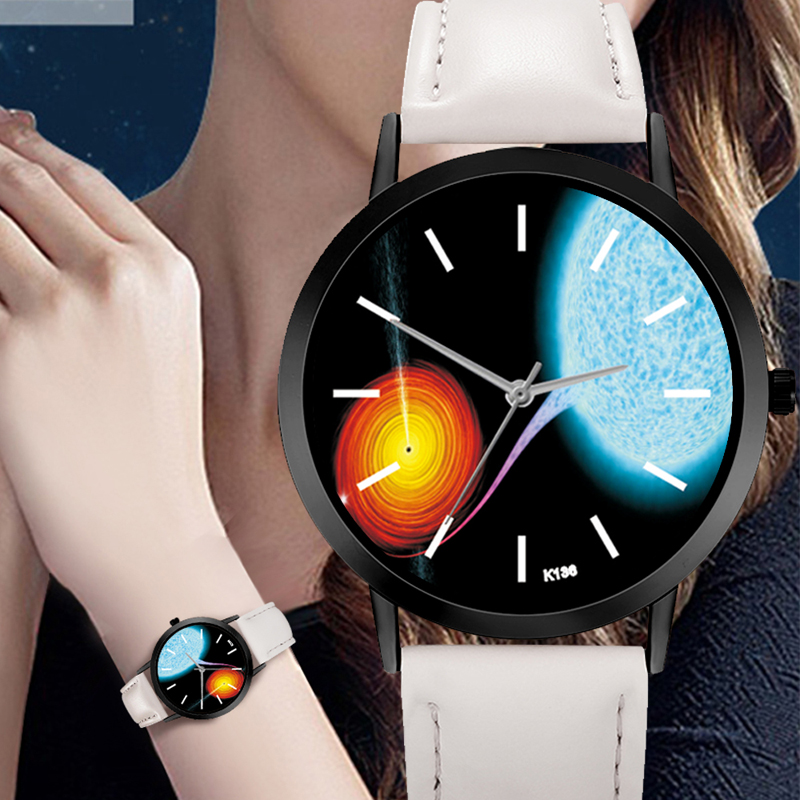Space Watch Solar System Casual Quartz Leather Strap Astronomy Planets Unisex Classy Creative Analog Watches Relogio Feminino