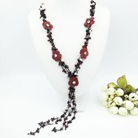 Natural Stone Gold Obsidian Red Jade Flowers Freshwater Pearl With Jade Toggle Clasp Necklace Approx 60cm