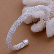 Silver plated exquisite luxury gorgeous fashion circular bangle women bracelet mesh wedding charm jewelry birthday gift B040