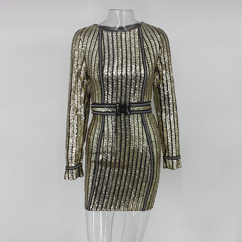 Heavy Industry Sequins Iron Chain Sexy Dress Female Fashion Slim ...