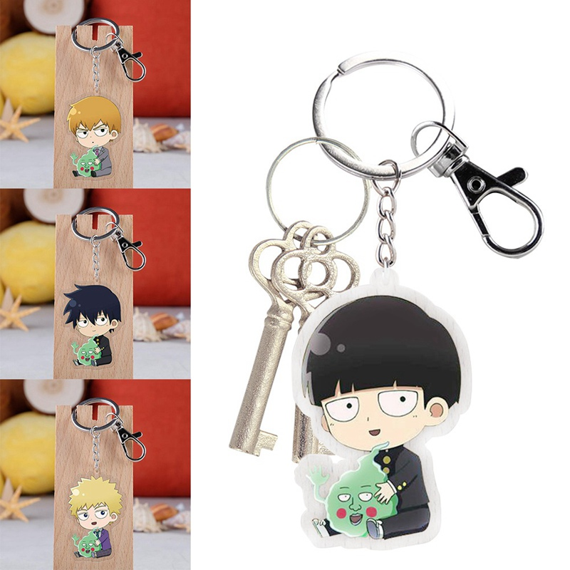 1Pcs Mob Psycho 100 Keychain Anime  Cartoon Figure Mobu Saiko Hyaku Kageyama Shigeo Kageyama Ritsu Acrylic Key Ring
