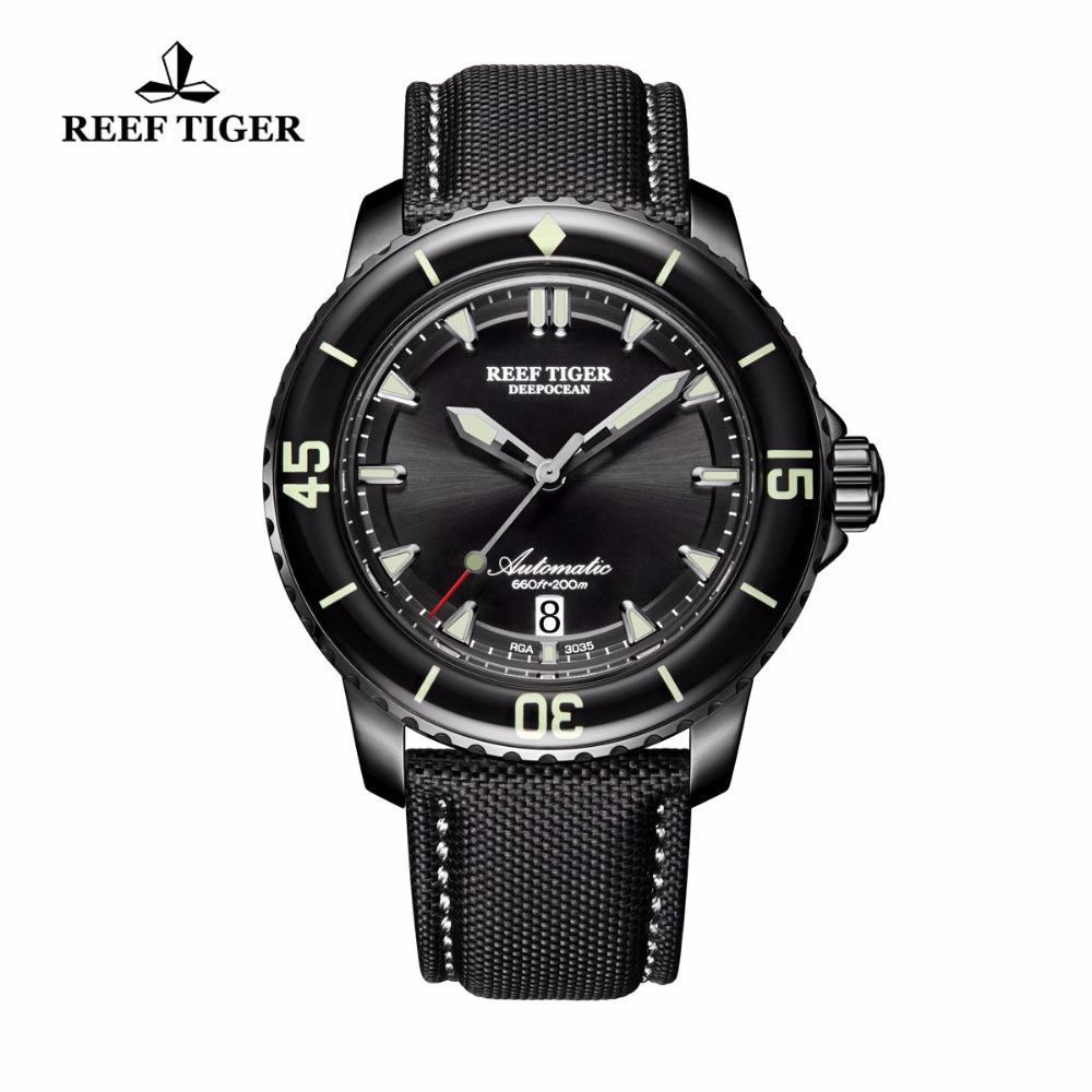 Reef Tiger/RT Luminous Sport Watches Mens Black Steel Nylon Strap Automatic Dive Watches with Date RGA3035 reef tiger rt top brand automatic watches enjoy your live style dive watch luminous nylon leather rubber watches rga90s7