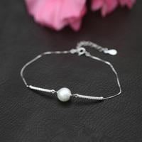 מעדן 925-sterling-silver צמיד שרשרת פנינת קסם עגולים נוצצות | שושבינה תכשיטי כסף סטרלינג צמידים לנשים