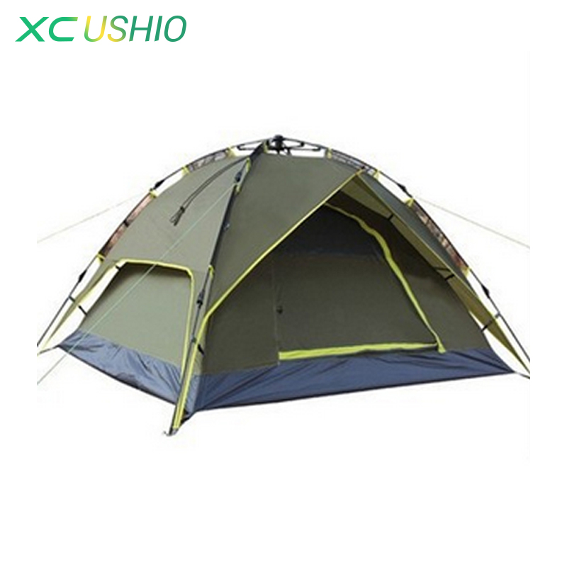 цена на Strong Glass Fiber Rod 3-4 Person Tent Large Space Double Layer Automatic Umbrella Tent for Outdoor Camping Hiking Fishing
