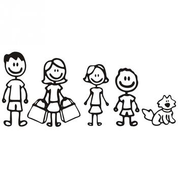 Funny One Family Figure Dad Mom Daughter Son And Pet Dog Auto Decal Car Stickers Головная гарнитура