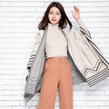 New 2016 Autumn Winter Cashmere Wool Blend Knitted Cardigans Women Print Jumper Sweater Thick Cardigan Coat Oversized