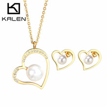 Kalen Fashion Gold Color Jewelry Set Cheap Imitation Shell Pearl Heart Pendant Necklace&Earrings Set For Kids Girls Women