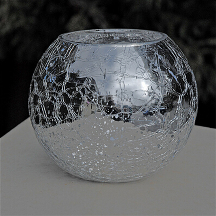 Crackle Mirror Ivy Bowl Silver Glass Candle Holder Glass Vase