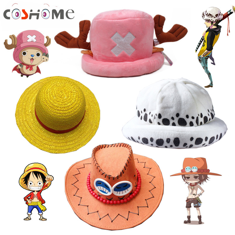 Coshome One Piece Luffy Yellow Straw Boater Beach Hats Tony Chopper Trafalgar Law White Navy Cap Ace Orange West Cowboy Hats