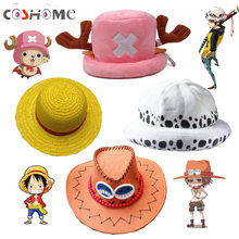 Coshome One Piece Luffy jaune paille Boater plage chapeaux Tony Chopper Trafalgar Law blanc marine casquette Ace Orange West Cowboy chapeaux(China)