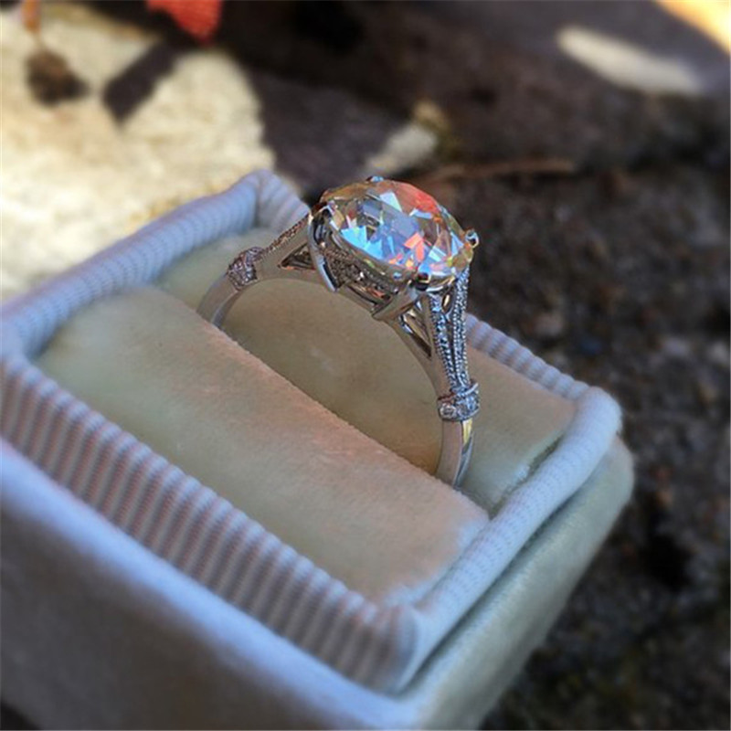 ZN 2019 Fashion Jewelry Silver Plated Wedding Rings For Women Round Cubic Zirconia Jewelry Bague Bijoux Femme Engagement Ring in Engagement Rings from Jewelry Accessories