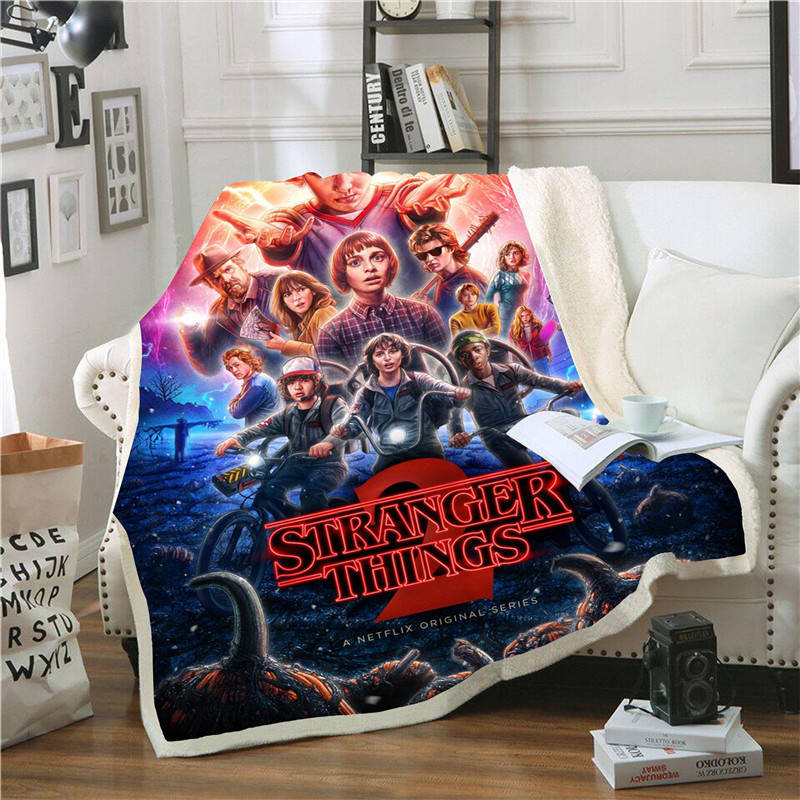 3D Stranger Things Blanket For Beds Hiking Picnic Thick Quilt Fashionable Bedspread Fleece Throw Blanket