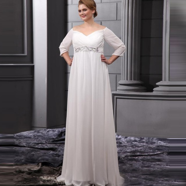 Simple Chiffon Maternity Wedding Dress Half Sleeve Beach Bride