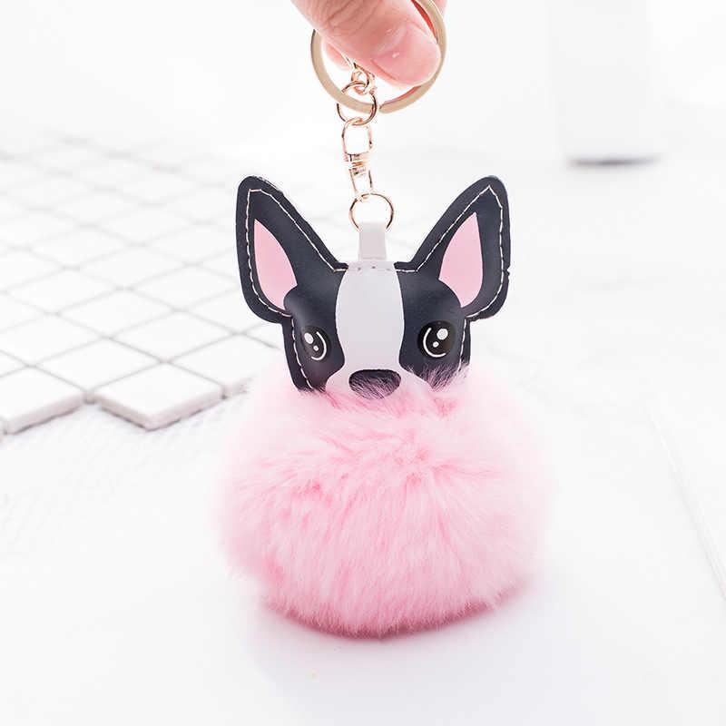 Qiyufang coelho macio bola de pele francês bulldog chaveiro animal cão chaveiro couro do plutônio titular saco charme trinket pompom chaveiro