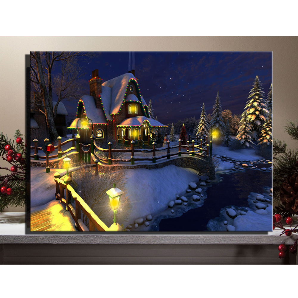 Christmas house with snow art - Led Canvas Art Christmas Snow Night Village House With Trees Picture Framed Wall Art Light Up Oil Painting For Home Decor
