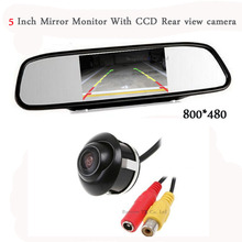 Car HD CCD Rearview camera with mirror Monitor TFT  Jalousie Metal detector Reversing Parking automobiles System Car accessories